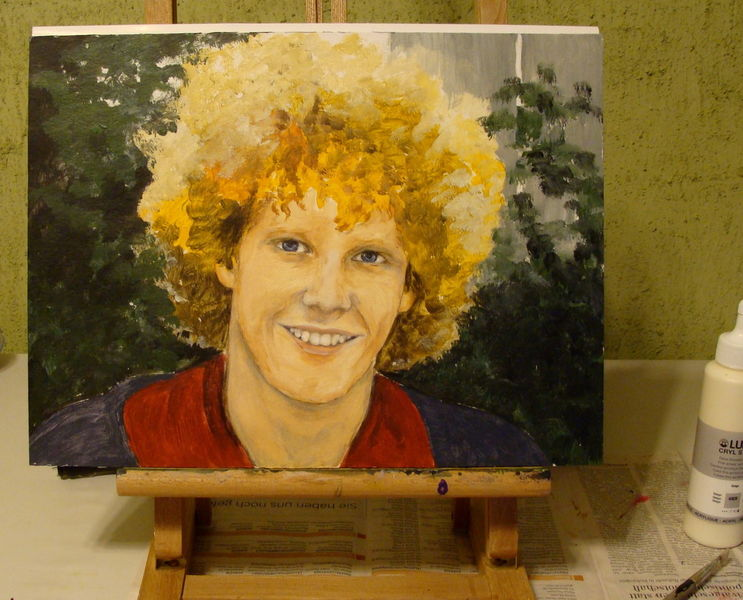 Jüngling, Locken, Junger mann, Portrait, Skizze, Acrylmalerei