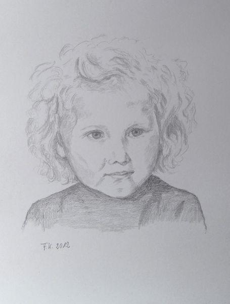 Kind, Mädchen, Skizze, Portrait, Bleistiftzeichnung, Zeichnungen