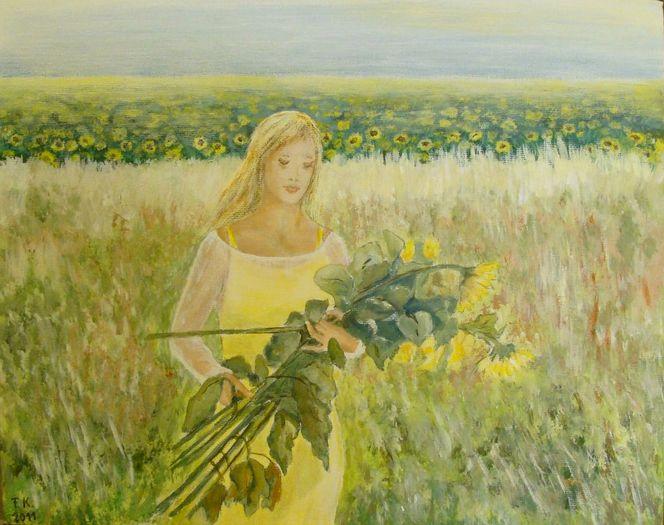 Acrylmalerei, Mädchen, Blumen, Sonnenblumen, Sommer, Malerei
