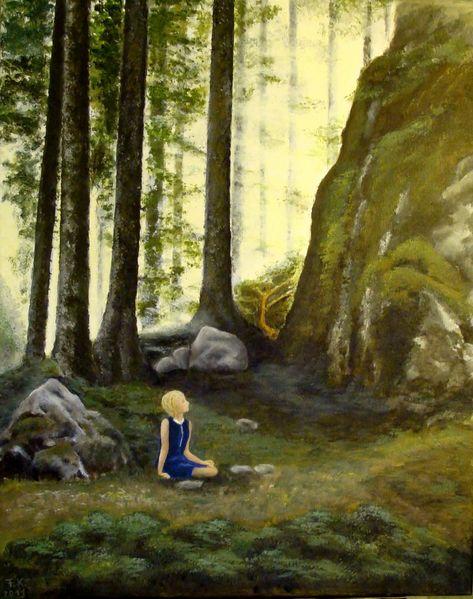 Märchen, Landschaft, Wald, Acrylmalerei, Malerei