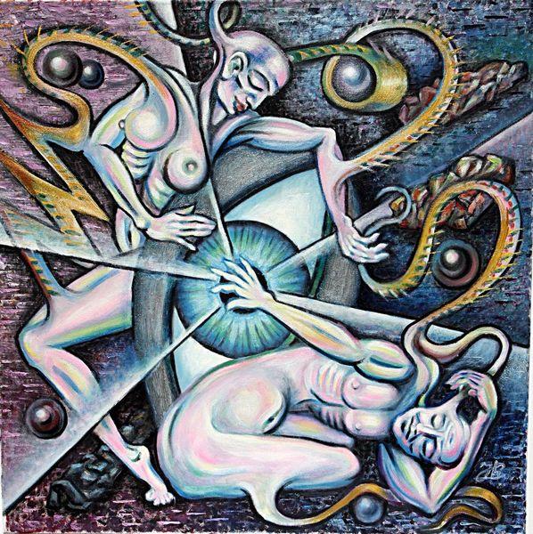 Frau, Mann, Malerei, Menschen