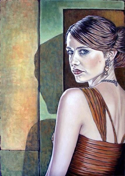 Schatten, Portrait, Licht, Frau, Ölmalerei, Realismus