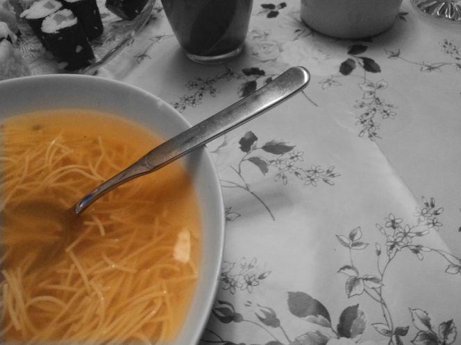 Weiß, Muster, Suppe, Bunt, Löffel, Tischdecke