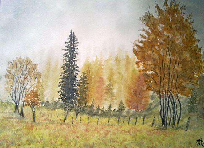 Aquarellmalerei, Aquarell, Herbstlandschaft