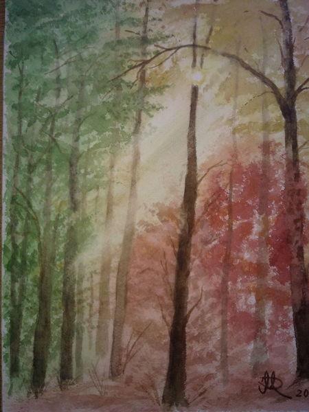 Aquarellmalerei, Aquarell, Herbstwald