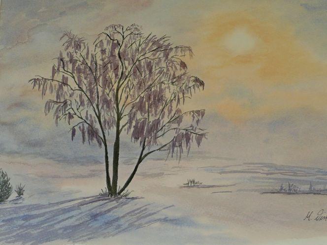 Aquarellmalerei, Aquarell, Winterlandschaft