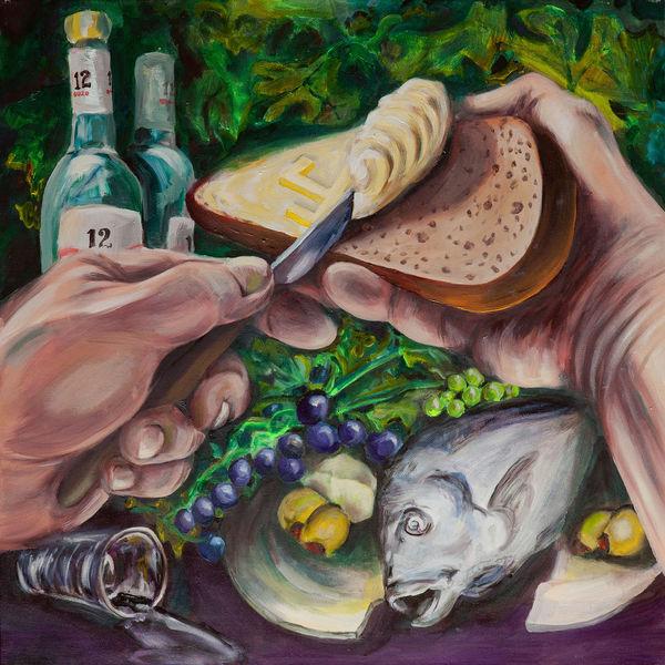 Dorade, Glas, Brot, Schnaps, Käse, Anis