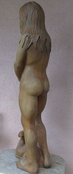 Schlange, Skulptur, Figur, Schnitzkunst, Frauengesicht, Apfel
