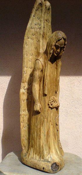 Antik, Schnitzkunst, Heilig, Frauengesicht, Skulptur, Holzskulptur