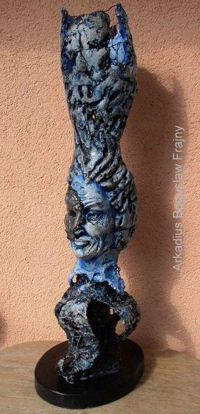 Kunstobjekte, Lampe, Mann, Maske, Figur, Büste