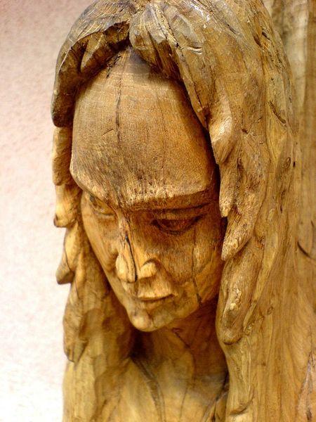 Holzengel, Skulptur, Antik, Engel skulptur, Figur, Frauengesicht
