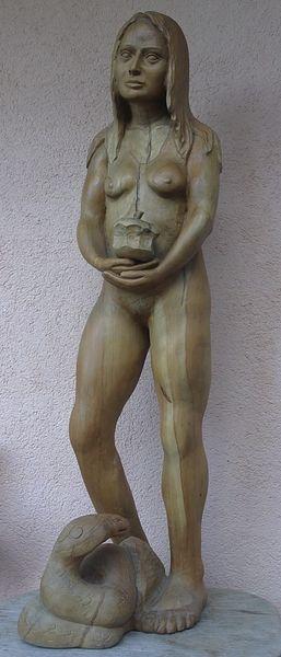 Schnitzkunst, Büste, Holzfigur, Skulptur, Schlange, Akt