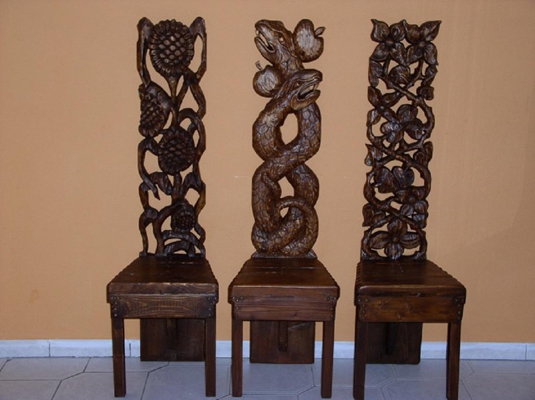 Holzstuhle Tieren Pflanzen Antike Antike Stuhle Kopf Skulptur Von Arkadius Frajny Bei Kunstnet