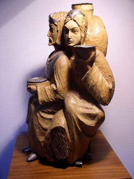 Skulptur, Kerzenständer, Leuchter, Baum, Frau, Menschen