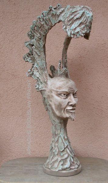 Skulptur, Männergesicht, Lampe, Betonskulptur, Büste, Figur