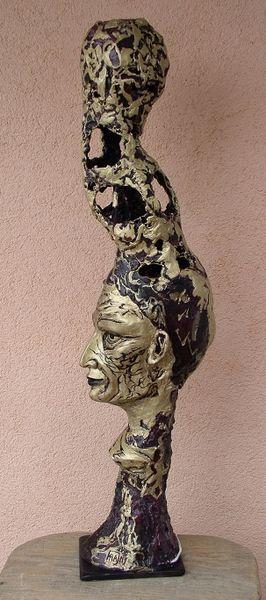 Skulptur, Schnitzkunst, Lampe, Gesicht, Netzskulptur, Betonskulptur