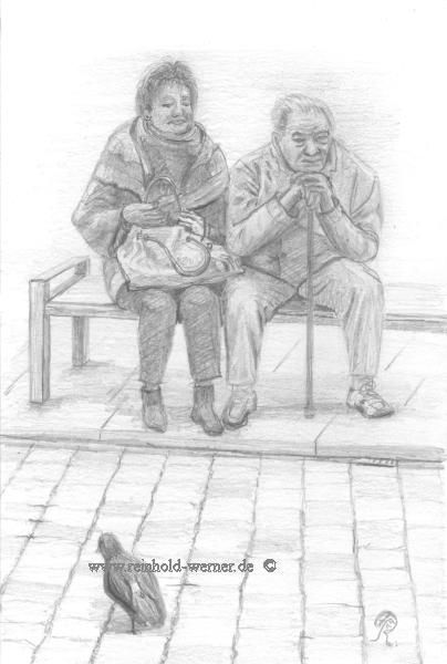 Realistische zeichnung, Ehepaar bushaltestelle, Bleistiftzeichnung, Zeichnung, Zeichnungen, Paar