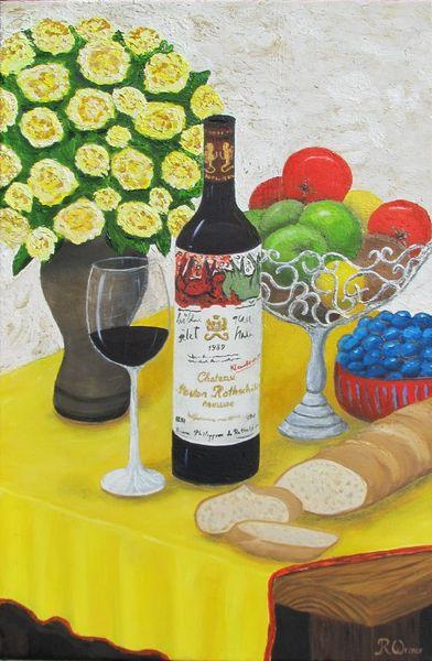 Brot und wein, Malerei, Stillleben, Brot, Wein
