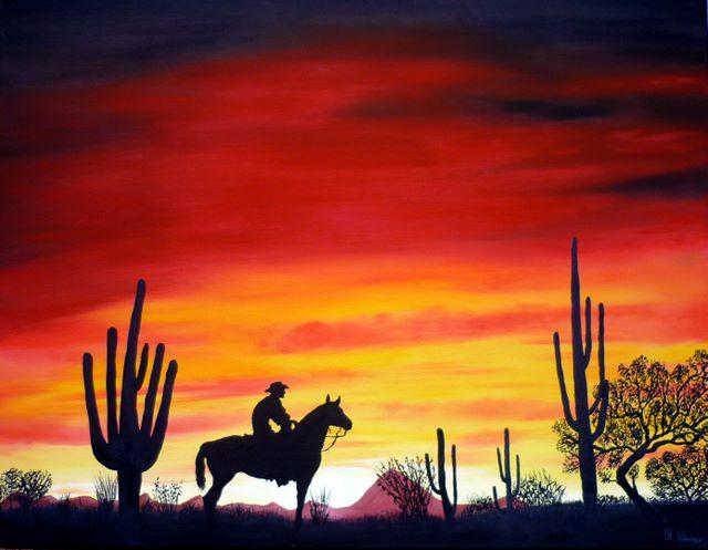 Sonnenuntergang, Cowboy, Prärie, Pferde, Malerei
