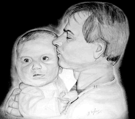 Portrait, Bleistiftzeichnung, Kohlezeichnung, Zeichnungen, Tochter, Selbstportrait