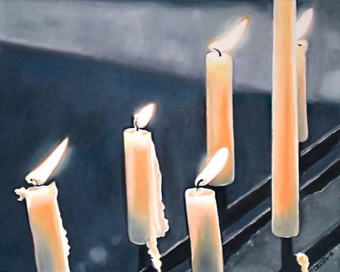 Stillleben, Kerzen, Malerei