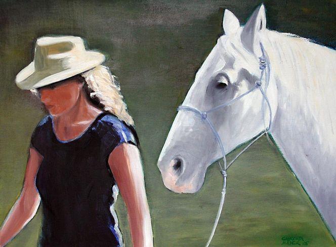 Frau, Figural, Pferde, Malerei, Tiere, Heimweg