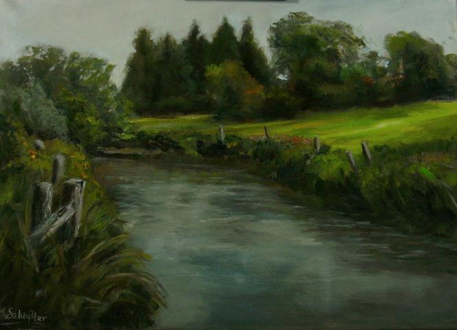 Licht, Landschaft, Gras, Fluss, Grün, Malerei