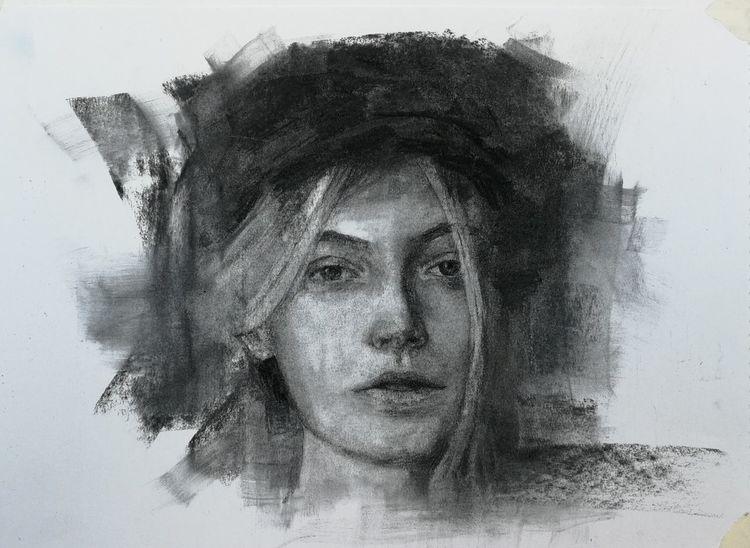 Zeichnung, Portrait, Kohlezeichnung, Zeichnungen