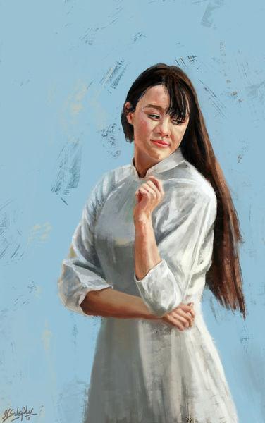 Frau, Gesicht, Digital, Malerei, Digital art, Portrait