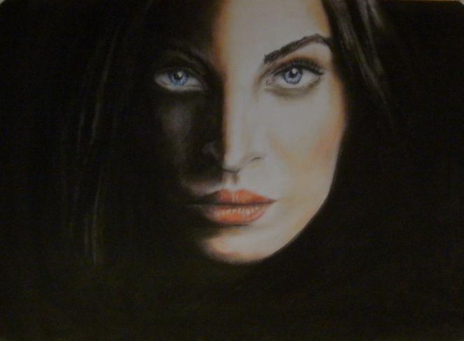 Kreide, Gesicht, Schatten, Portrait, Menschen, Pastellmalerei