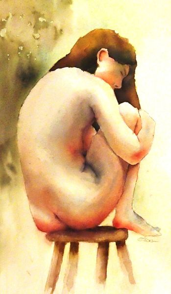 Sitzen, Akt, Studie, Frau, Mädchen, Aquarellmalerei