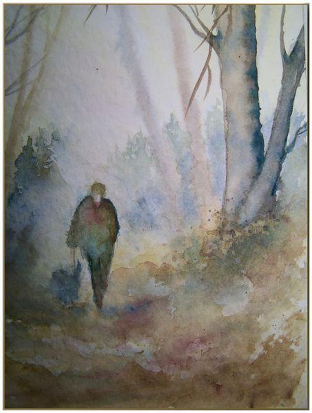 Einsamkeit, Wald, Spaziergänger, Hund, Aquarell, Tiere