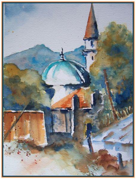 Urlaub, Aquarellmalerei, Sommer, Türkei, Typisch, Aquarell