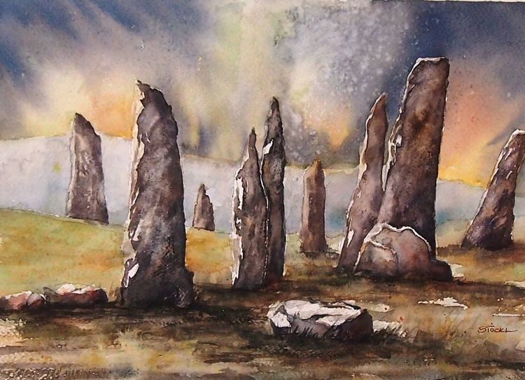 Aquarellmalerei, Hebriden, Steinkreis, Callanish, Keltisch, Schottland