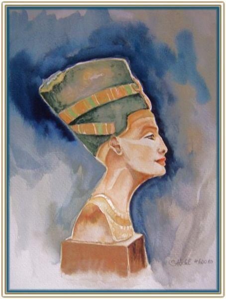 Profil, Kaiser, Weiblich, Büste, Nofretete, Aquarellmalerei