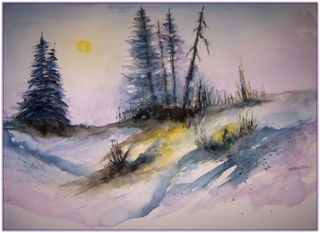 Licht, Natur, November, Diffus, Aquarellmalerei, Aquarell