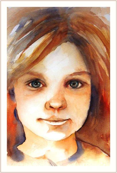 Offenheit, Mädchen, Aquarellmalerei, Licht, Augen, Portrait