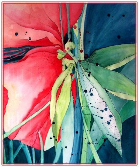 Aufgeblüht, Blüte, Modern, Pflanzen, Abstrakt, Aquarell