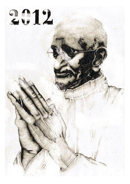 Illustration, Menschen, Gandhi, Zeichnung, Portrait, Zeichnungen