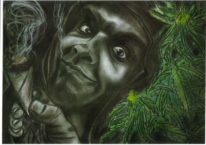 Rauchen, Hanf, Gras, Hand, Malerei, Frei