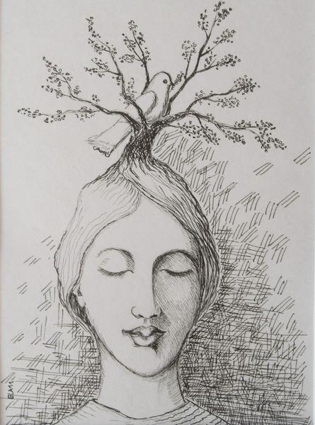 Gesicht, Taube, Augen, Zeichnungen, Portrait, Friedlich