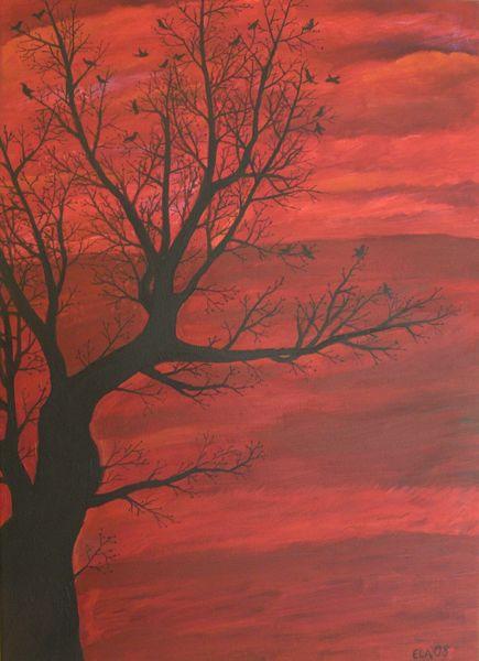 Rot, Vogel, Baum, Malerei, Tiere,