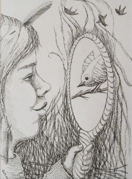 Vogel, Traum, Gesicht, Spiegel, Zeichnungen, Tiere