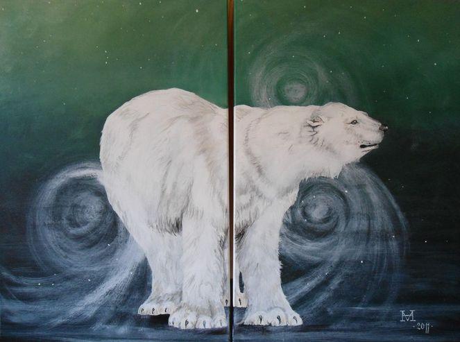 Tiere, Eisbär, Nordpol, Malerei, Nacht