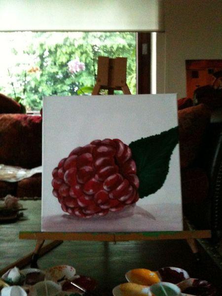 Früchte, Sommer, Frische, Himbeere, Skulptur, Obst