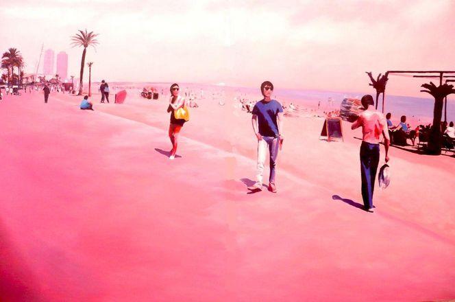 Strand, Sommer, Menschen, Spanien, Pink, Barcelona