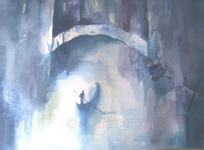 Stille, Wasser, Blau, Licht, Schatten, Aquarellmalerei