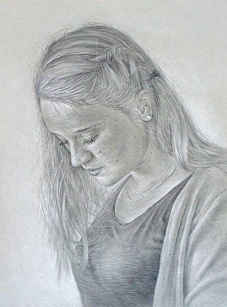 Frauen portrait, Portrait, Bleistiftportrait, Malerei