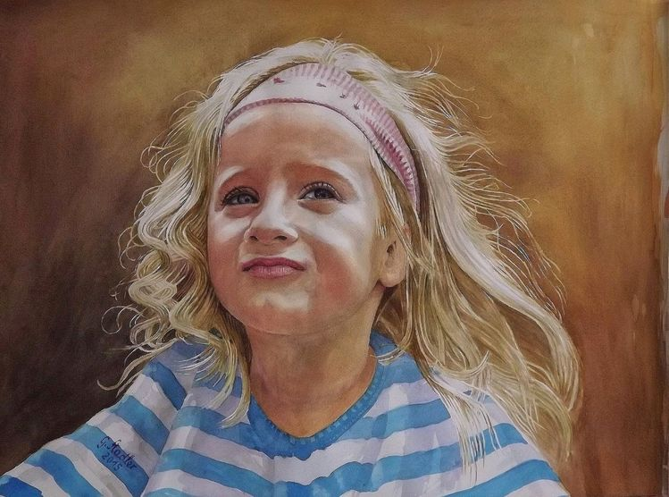Schloßau, Portrait, Aquarellmalerei, Kinderportrait, Mädchen, Kind