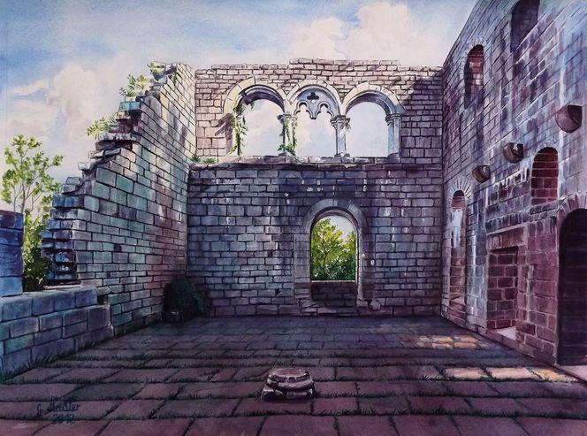 Innenraum, Neckar, Miltenberg, Odenwald, Eberbach, Aquarellmalerei